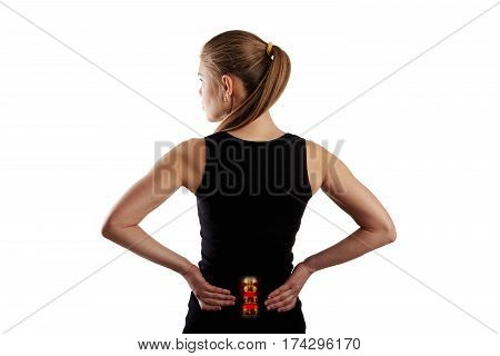 Backbone radiology. Young woman having backache over white background.