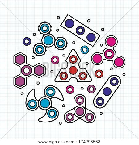 Hand Spinners illustration. Vector icons set isolated