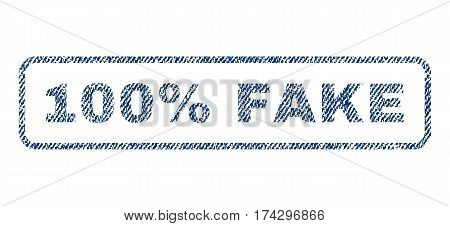 100 Percent Fake text textile seal stamp watermark. Blue jeans fabric vectorized texture. Vector tag inside rounded rectangular banner. Rubber emblem with fiber textile structure.