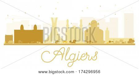 Algiers City skyline golden silhouette. Simple flat concept for tourism presentation, banner, placard or web site. Business travel concept. Cityscape with landmarks