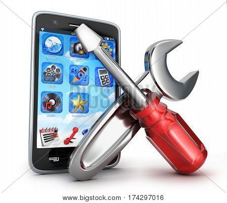 Smartphone repair on white background. 3d illustration