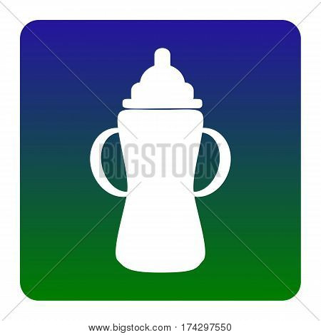 Baby bottle sign. Vector. White icon at green-blue gradient square with rounded corners on white background. Isolated.