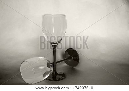 two glasses of still life black and white