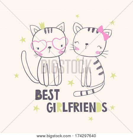 Best girlfriends. T-shirt graphic for kid's clothing. Use for print design surface design fashion kids wear
