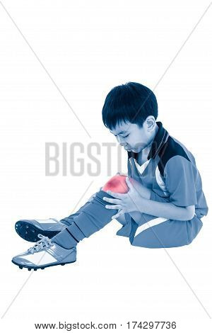Full Body Of Asian Soccer Player With Pain At Knee. Isolated On White Background.