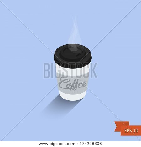 Coffee Cup. Vector Illustration. Isometric Icon. Isolated