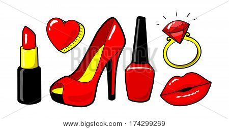 Red kiss lips, nail polish, lipstick, heart, ring, diamand. Women's shoe.  Make up. Cool sexy concept. Fashion style. Vector cartoon elements isolated. Stikers kit, set of icons, patches badge