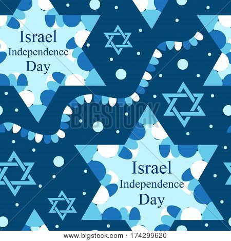 Happy Israel Independence Day seamless pattern with flags and bunting. Jewish Holidays endless background, texture. Jewish backdrop. Vector illustration