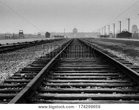Birkenau Concentration Camp showing empty rail yard and gun posts.