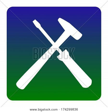 Tools sign illustration. Vector. White icon at green-blue gradient square with rounded corners on white background. Isolated.