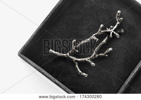 Elegant silver brooch in the shape of tree branch in black jewel box