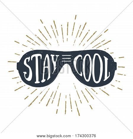 Hand drawn 90s themed badge with sunglasses textured vector illustration and
