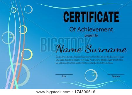 Certificate of achievement template in vector. Blue tone. Vector illustration