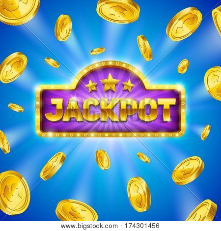 Jackpot winner background with gold coins. Eps10 vector illustration.