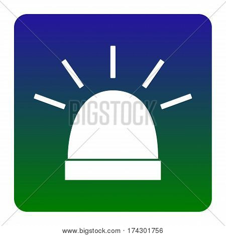 Police single sign. Vector. White icon at green-blue gradient square with rounded corners on white background. Isolated.