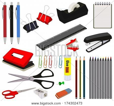 Stationery Office and School Items Set Collection including pen pencil colors paper clips stapler scissors sharpener ruler staple remover glue stick rubber eraser adhesive tape puncher notebook object