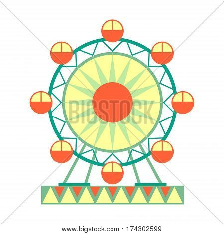 Big Ferris Wheel Ride, Part Of Amusement Park And Fair Series Of Flat Cartoon Illustrations. Isolated Object Related To Theme Park Entertainment Simplified Drawing.