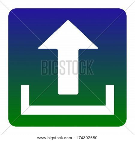 Upload sign illustration. Vector. White icon at green-blue gradient square with rounded corners on white background. Isolated.