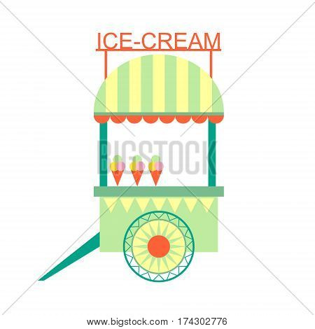 Ice-Cream Snack Stand On Wheels, Part Of Amusement Park And Fair Series Of Flat Cartoon Illustrations. Isolated Object Related To Theme Park Entertainment Simplified Drawing.