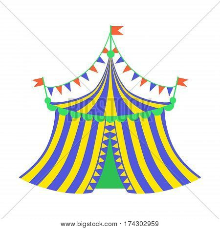 Yellow And Blue Circus Tent, Part Of Amusement Park And Fair Series Of Flat Cartoon Illustrations. Isolated Object Related To Theme Park Entertainment Simplified Drawing.