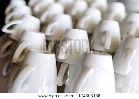 Many Rows Of Pure White Coffee Cups