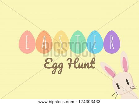 happy easter greeting card with bunny easter and easter egg, happy easter, vector illustration