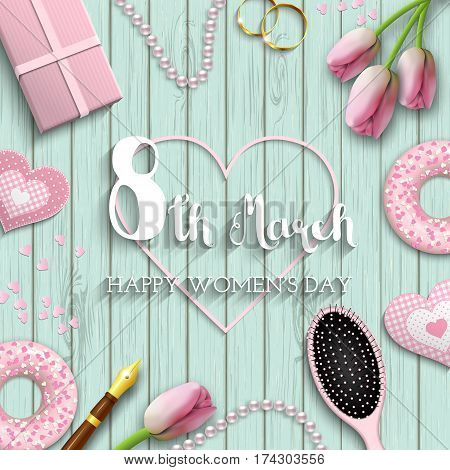 International Women's Day greeting card, romantic motive with pink objects and flowers on blue wooden background, inspired by flat lay style, vector illustration, eps 10 with transparency and gradient meshes