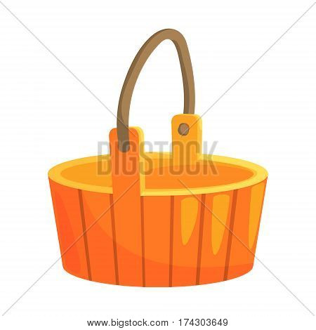 Traditional Wooden Bucket With Handle, Part Of Russian Steam House Series Of Flat Funny Cartoon Illustrations. Sauna Washing And Russian Hygiene Culture Related Isolated Drawing.