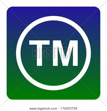 Trade mark sign. Vector. White icon at green-blue gradient square with rounded corners on white background. Isolated.