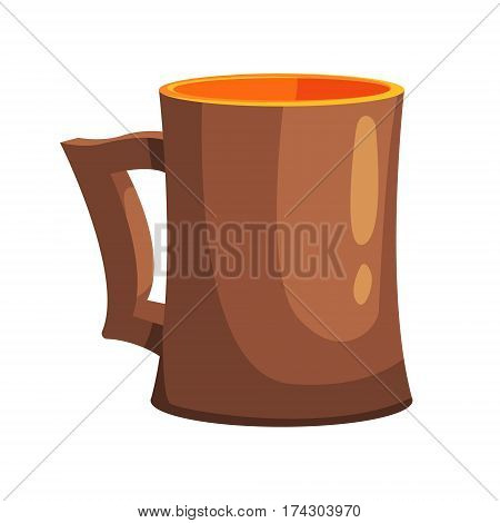 Ceramic Beer Pint Mug, Part Of Russian Steam House Series Of Flat Funny Cartoon Illustrations. Sauna Washing And Russian Hygiene Culture Related Isolated Drawing.