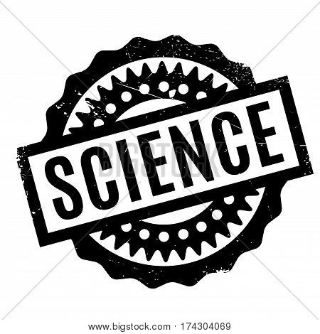 Science rubber stamp. Grunge design with dust scratches. Effects can be easily removed for a clean, crisp look. Color is easily changed.