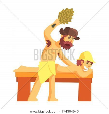 Attendant Hitting A Guy Laying On Bench With Bunch Of Green Birch Tree Twigs, Part Of Russian Steam House Series Of Flat Funny Cartoon Illustrations. Sauna Washing And Russian Hygiene Culture Related Isolated Drawing.