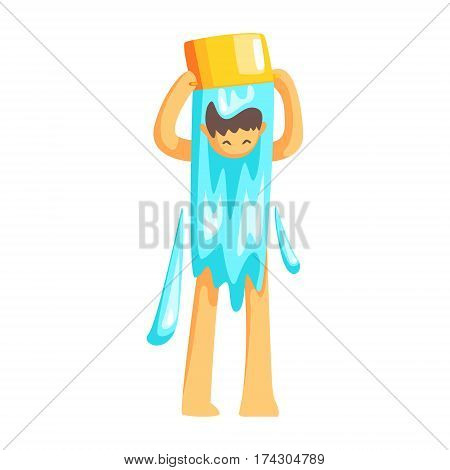 Man Turning A Bucket Of Water On His Head To Cool Down, Part Of Russian Steam House Series Of Flat Funny Cartoon Illustrations. Sauna Washing And Russian Hygiene Culture Related Isolated Drawing.