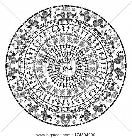 Warli painting round ornamental pattern - hand drawn traditional the ancient tribal art India. Pictorial language is matched by a rudimentary technique depicting rural life of the inhabitants of India