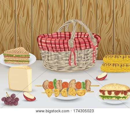 Collection of picnic food on wooden background. Grilled corn, potato, kebab, sandwiches, cheese, fruits and basket. Isolated elements. Design concept for picnic or barbecue party. Vector illustration