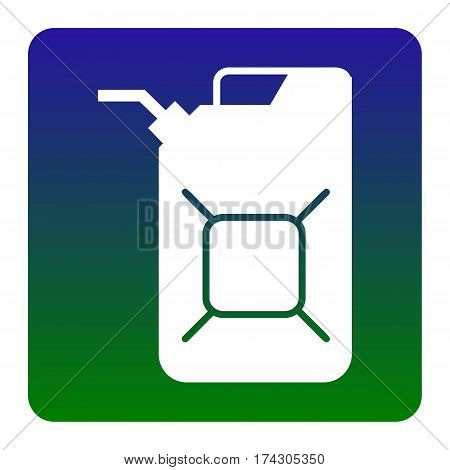 Jerrycan oil sign. Jerry can oil sign. Vector. White icon at green-blue gradient square with rounded corners on white background. Isolated.