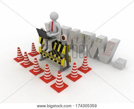 3d worker with laptop is sitting on an Under Construction sign. rendered illustration