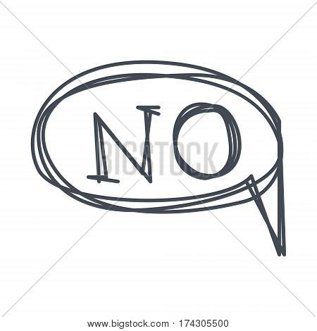 Word No, Hand Drawn Comic Speech Bubble Template, Isolated Black And White Hand Drawn Clipart Object. Sketch Style Monochrome Sticker With Speech Balloon For Cartoons And Comics.