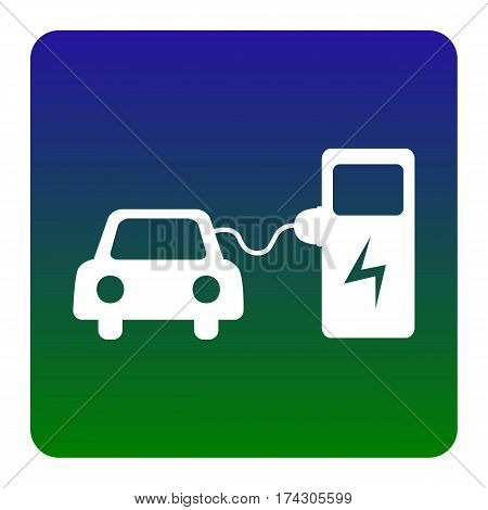 Electric car battery charging sign. Vector. White icon at green-blue gradient square with rounded corners on white background. Isolated.