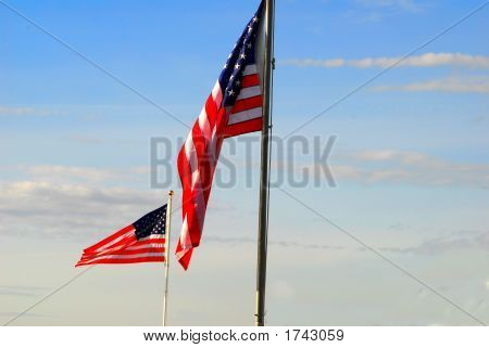 2 American Flags