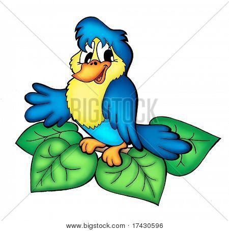 Color illustration of bird sitting on branch.