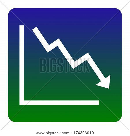 Arrow pointing downwards showing crisis. Vector. White icon at green-blue gradient square with rounded corners on white background. Isolated.