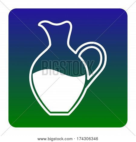 Amphora sign. Vector. White icon at green-blue gradient square with rounded corners on white background. Isolated.