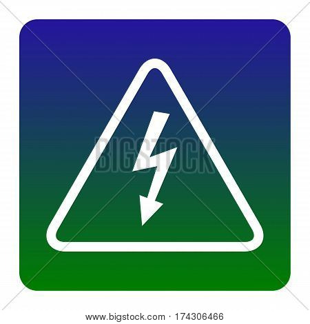 High voltage danger sign. Vector. White icon at green-blue gradient square with rounded corners on white background. Isolated.