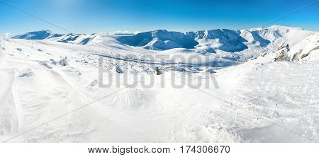 Panorama Of White Winter Mountains