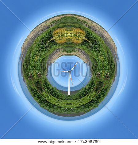 Small planet illustration with wind single generator in center of image.