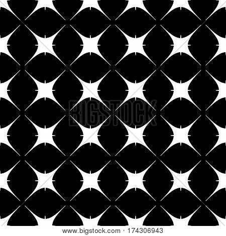 Star geometric seamless pattern. Fashion graphic background design. Modern stylish abstract monochrome texture. Template for prints textiles wrapping wallpaper website. Stock VECTOR illustration