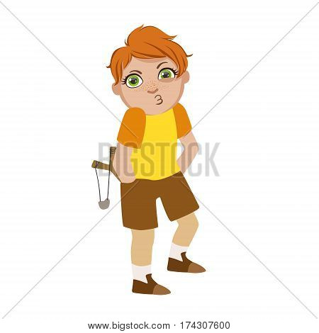 Boy With Slingshot Looking For Trouble, Part Of Bad Kids Behavior And Bullies Series Of Vector Illustrations With Characters Being Rude And Offensive. Schoolboy With Aggressive Behavior Acting Out And Offending Other Children..