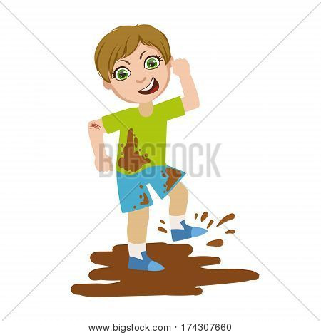 Boy Jumping In Dirt, Part Of Bad Kids Behavior And Bullies Series Of Vector Illustrations With Characters Being Rude And Offensive. Schoolboy With Aggressive Behavior Acting Out And Offending Other Children..
