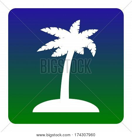 Coconut palm tree sign. Vector. White icon at green-blue gradient square with rounded corners on white background. Isolated.